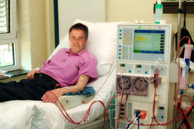 stock photo of sick kidney  - Patient in a clinic during the dialysis - JPG