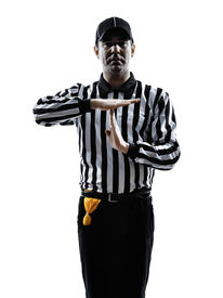picture of referee  - american football referee gestures time out in silhouette on white background - JPG