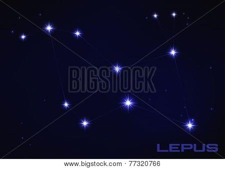 Постер, плакат: illustration of Lepus constellation, холст на подрамнике