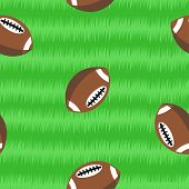 Footballs On Field Seamless Pattern