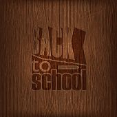 back to school retro design on wooden background