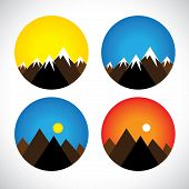 Icons Of Hills & Peaks With Snow In Evenings, Mornings - Concept Vector Graphic