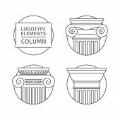 Line Flat Icons Columns. Elements Of A Corporate Logo. Vector Set