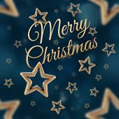 foto of iron star  - Merry Christmas on the night stars seamless pattern on the blue background - JPG