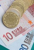 Euro Currency Coins And Banknotes
