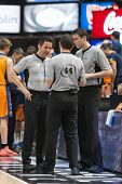 VALENCIA, SPAIN - NOVEMBER 23:  Referees Team during Spanish League game between Valencia Basket Club and Unicaja Malaga at Fonteta Stadium on November 23, 2014 in Valencia