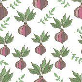 Radish seamless pattern. Hand drawn illustration vegetable
