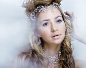 beauty young snow queen in fairy flashes with hair crown on her head