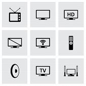 picture of tv sets  - Vector tv icon set on grey background - JPG