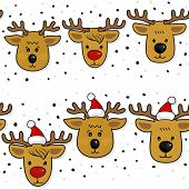 Reindeer in Santa Claus hats Christmas horizontal border set on white