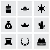 stock photo of bull-riding  - Vector wild west icon set on grey background - JPG