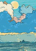 Seascape with dramatic clouds, vector