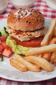 image of fried chicken  - Chicken burger with lettuce - JPG
