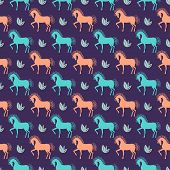 Vector Horse Seamless Pattern Background On Dark Cover