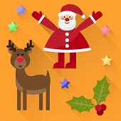 Funny Cartoon Winter Holidays Background With Cute Santa Claus, Deer, Stars And Branch Of Holly Isol