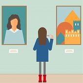 Illustration In A Flat Style With A Girl Photographing The Painting In The Museum