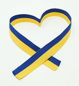 Ukrainian flag in the ribbon of heart
