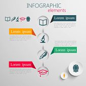 vector set of abstract 3d paper infographic elements with education signs for print or web design