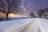 Snow Covered Lane In Oxfordshire