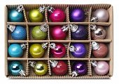 Colorful Xmas Balls In Box