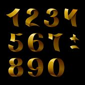 Set of isolated golden shining ribbon numbers on black backgroun