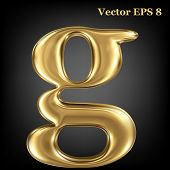 Golden shining metallic 3D symbol lowercase letter g, vector EPS8
