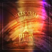 abstract vintage background for web or print design. illustration with Eiffel tower. welcome to Pari