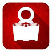 book flat icon, christmas button, reading room sign, bookshop symbol