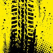 Yellow tire track wallpapper