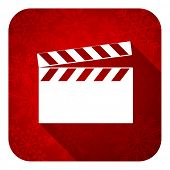 video flat icon, christmas button, cinema sign