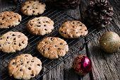 Chocolate Chip Cookies at Christmas Time. Horizontal