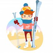 Hipster skier in front of slopes with his ski and ski pole. Flat