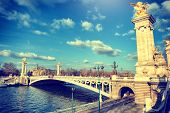 Alexandre Iii Bridge At Sunny Day. Paris, France