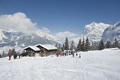 Unidentified tourists relax at the Brandegg ski station in Grindelwald, Bernese Alps, Switzerland.
