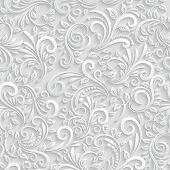 pic of greeting card design  - Vector Floral 3d Seamless Pattern Background - JPG