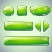 Set of green glossy buttons