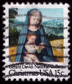 VirginMary With Baby Jesus. Christmas Postage Stamp