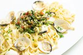Cooked Pasta With Scallops And Mixed Vegetable Topping