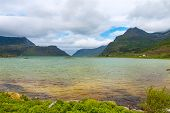 scenic view of fjord,  mountains, Norway, Lofoten