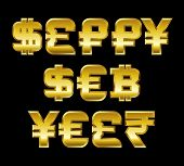 Happy New Year, Golden Currency Symbols