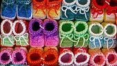 Colored Knitted Booties For Newborns