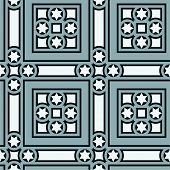 Seamless vintage ornamental tile set square with border in blue small