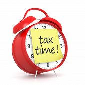 stock photo of clocks  - Tax Time and Red Alarm Clock - JPG