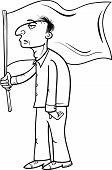 Man With Flag Cartoon Illustration