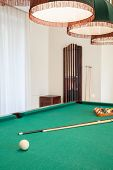 Billiard Cue On Billiard Table
