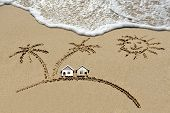 pic of beach-house  - house near sea beach sun and palm trees  - JPG
