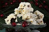 Christmas Holiday Traditional White Christmas Confectionery Chocolate Against Dark Wood Rustic Backg