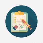Pet Medical Records Flat Icon With Long Shadow, Eps10