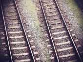 Vintage Retro Filtered Picture Of Railway Tracks.