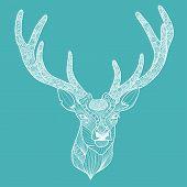 Patterned Deer Head With Big Antlers